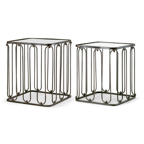 Abana 2-Piece Modern Square Nesting Mirrored Glass Top Metal Frame End Table Set by Glamour Home