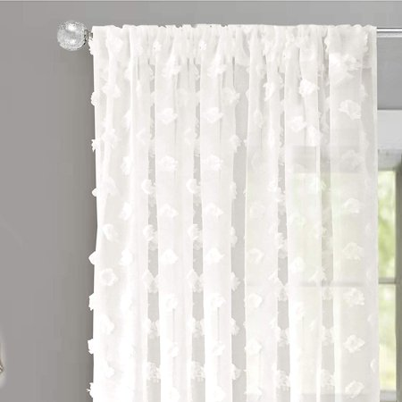 DriftAway Olivia White Voile Chiffon Sheer Window Curtains, Embroidered with Pom Pom, Set of Two Panels, 52