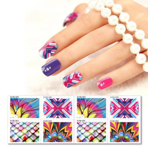 BMC 8pc Assorted Design DIY Gel Nail Polish Art Sticker Stamps - Bursts Set