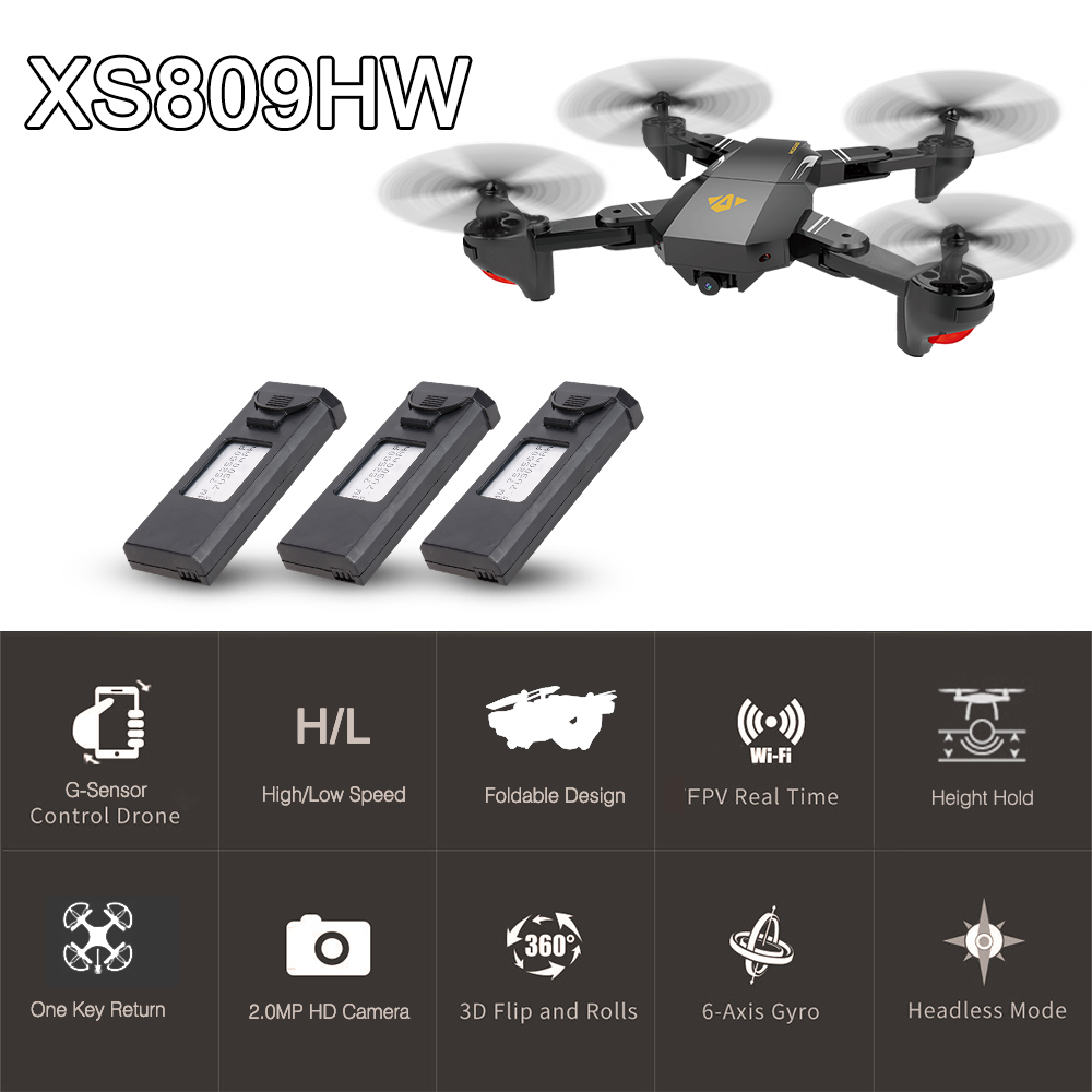 VISUO XS809HW Wifi FPV 2.0MP Foldable Selfie Drone Height Hold RC Quadcopter G-Sensor RTF... by