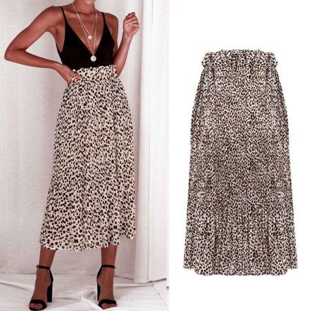 Multitrust Women Leopard Print High Waist Wrap Midi Skirt Ladies Party Cocktail Club Dress