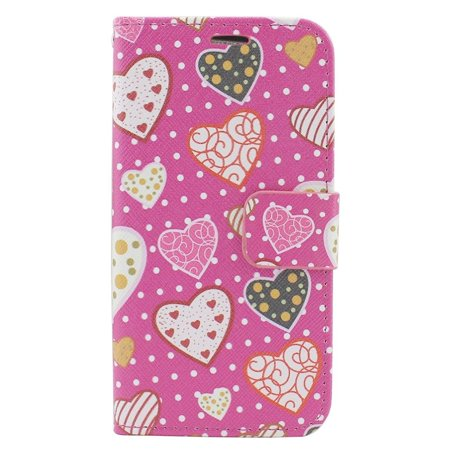 Insten For iPhone 6/6S Pink Hearts PU Leather Fabric Case W/Stand with Card Holder Slot