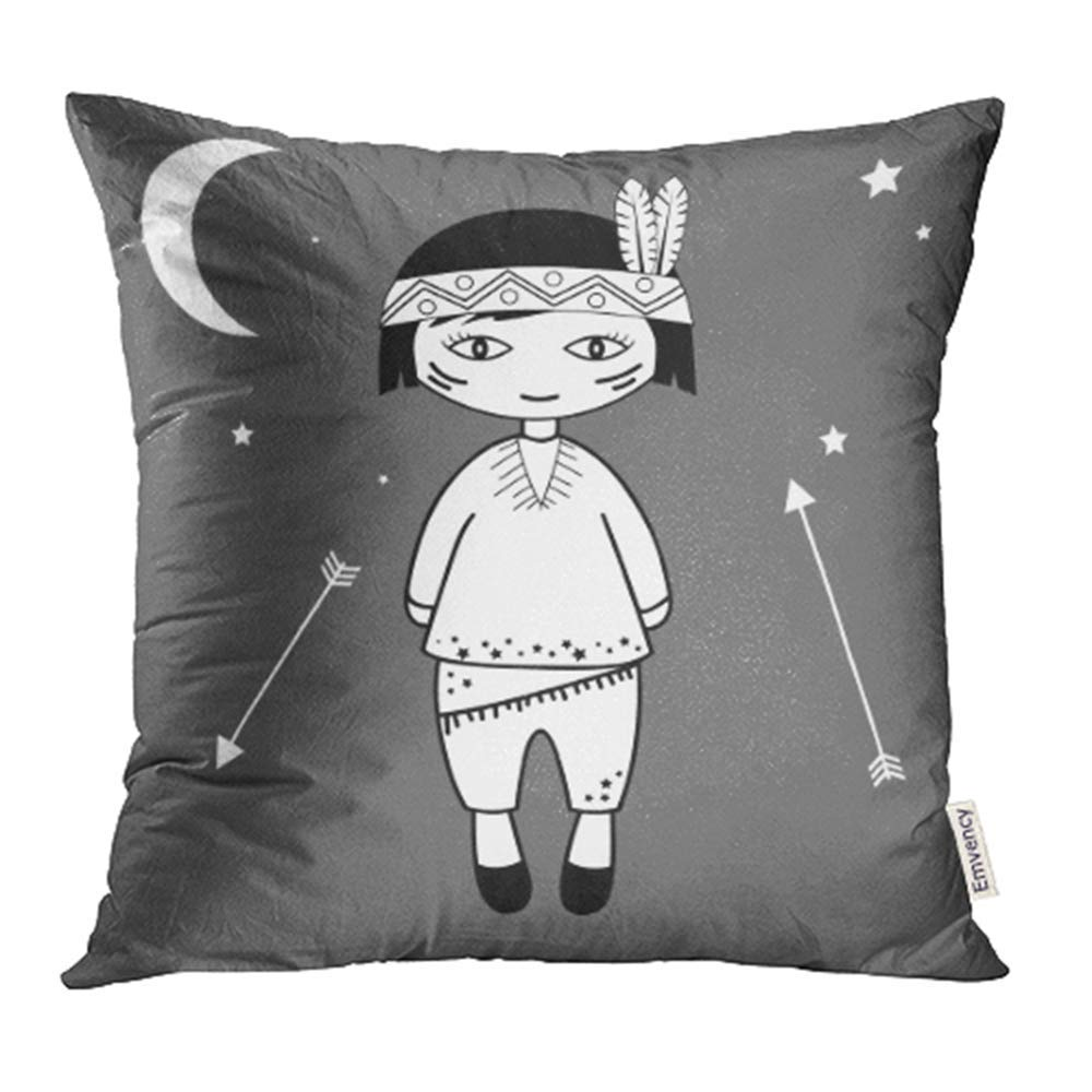 CMFUN Native s Boy Black and White Kids Style American Bow Brazilian Cartoon Pillow Case Pillow Cover 20x20 inch Throw Pillow Covers