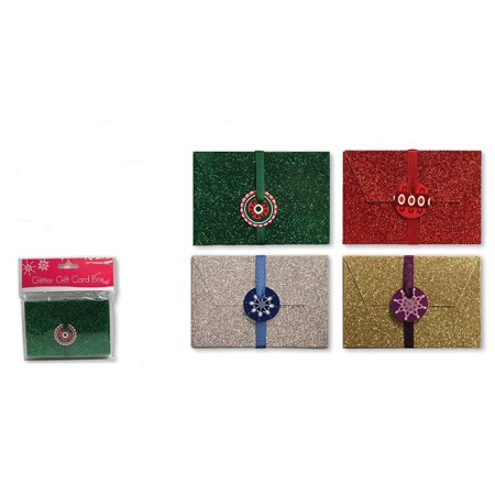 Handmade Assorted Embellished with a Dazzling Glitter Finish Gift Cards and Money Holder Cards Greeting Cards Money Card for Christmas with Elastic Wrap and Gift Tag ()