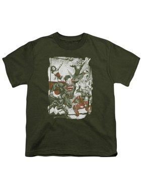 Jla - Green And Red - Youth Short Sleeve Shirt - Medium