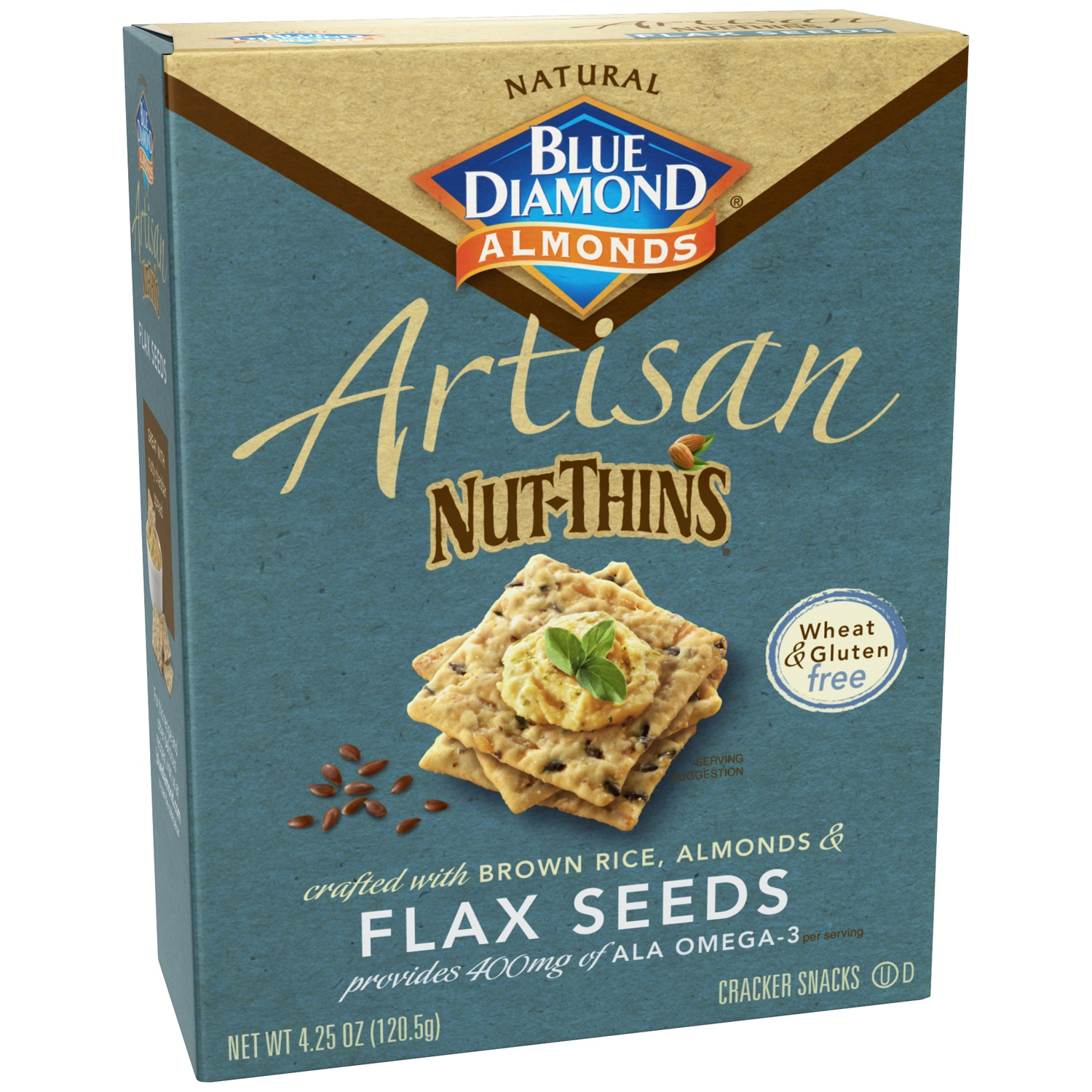 (2 Pack) Artisan Nut Thins Crackers, Flax Seeds 4.25 oz Box