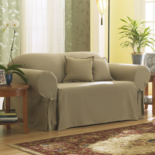 Sure Fit Cotton Duck Sage Sofa Slipcover