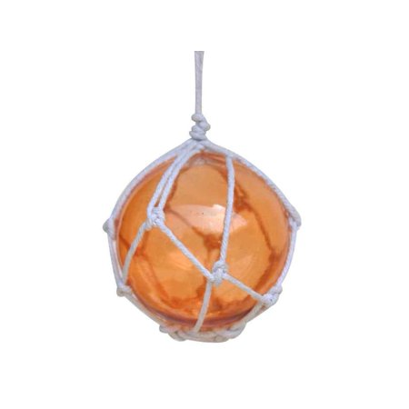 Orange Japanese Glass Ball With White Netting Christmas Ornament 3