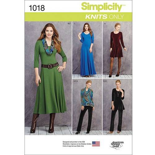 Simplicity Misses' Size 16-24 Knit Dresses, Tunics, Pants & Cowl Pattern, 1 Each