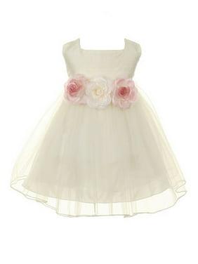 Kids Dream Baby Girls Ivory Floral Adorned Silk Tulle Flower Girl Dress
