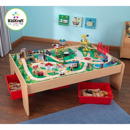 KidKraft Wooden Train Table And Piece Waterfall Mountain Train - Train set table