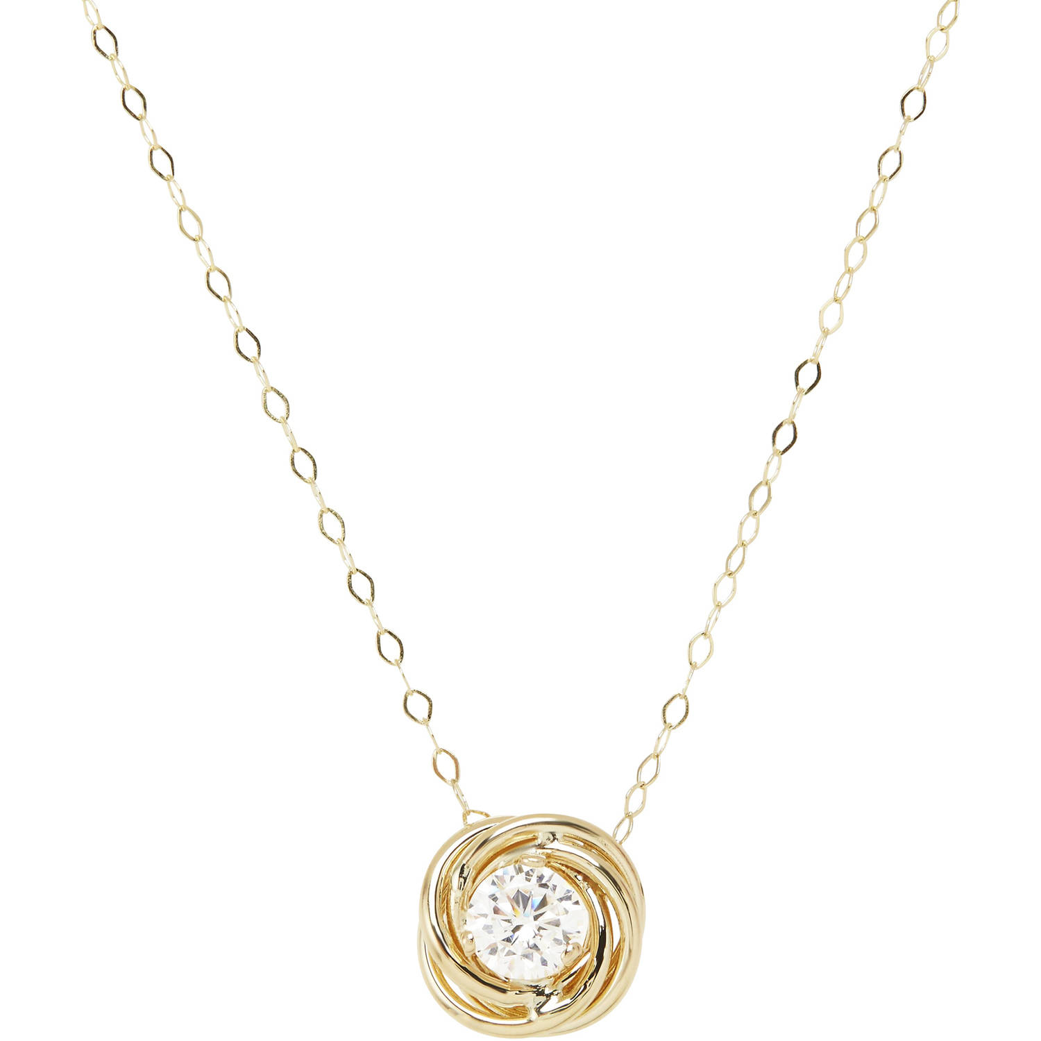 """Simply Gold 5mm CZ 10kt Yellow Gold Love Knot Necklace, 18"""""""