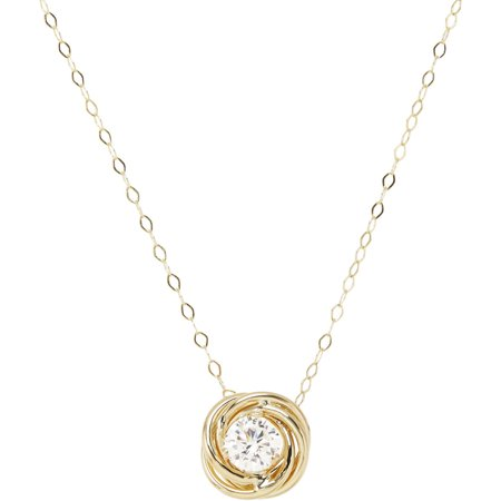 Simply Gold 5mm CZ 10kt Yellow Gold Love Knot Necklace, 18