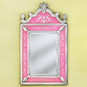 Large Natasha Pink Venetian Arched Wall Mirror - 38W x 68.5H in.