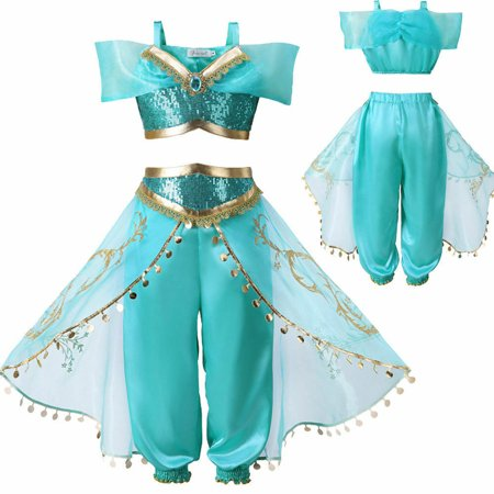 Baby In Costumes (Multitru Aladdin Jasmine Princess Cosplay Baby Kid Girl Fancy Dress Up Party Costume)