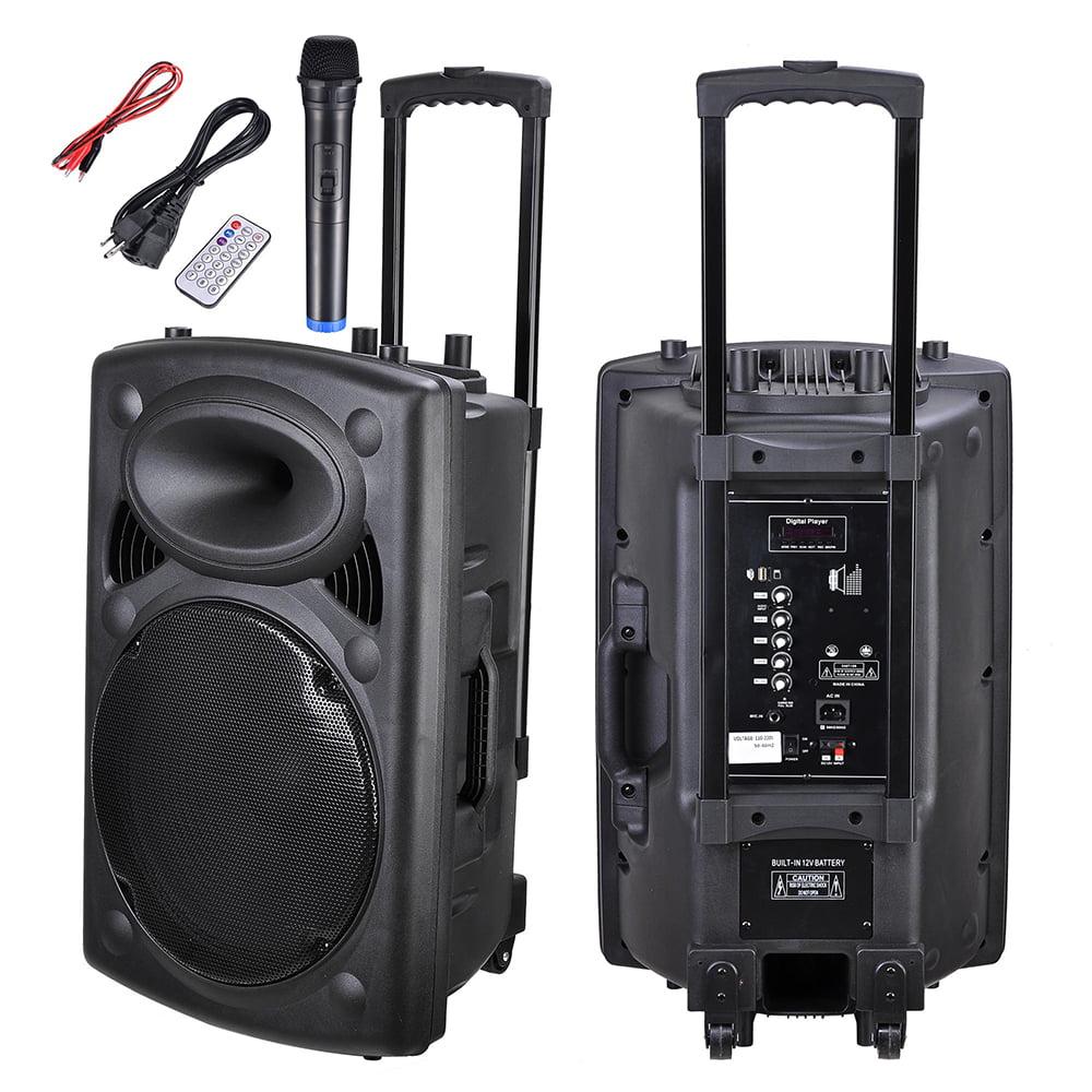 Yescom 9W/9W Portable Bluetooth Active PA Speaker Mic Guitar AMP USB SD  LCD FM Remote w/ Wireless Microphone - Walmart.com