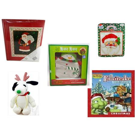 Holiday Fruitcake - Christmas Fun Gift Bundle [5 Piece] - Lego Merry  20 Page Photo Album - Jumbo  Suncatcher Santa - Cracker Barrel Serveware Snowman Bowl & Spreader - Reindeer Snoopy  6