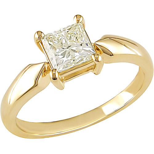 Miabella 1 Carat T.W. Princess Cut Diamond Solitaire Ring in 14kt Yellow Gold by