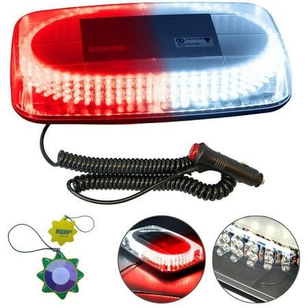 HQRP Red / White 240 LED Emergency Hazard Warning Mini Bar Strobe Light w/ Magnetic Base for Car Trailer RV Boat + HQRP UV Meter