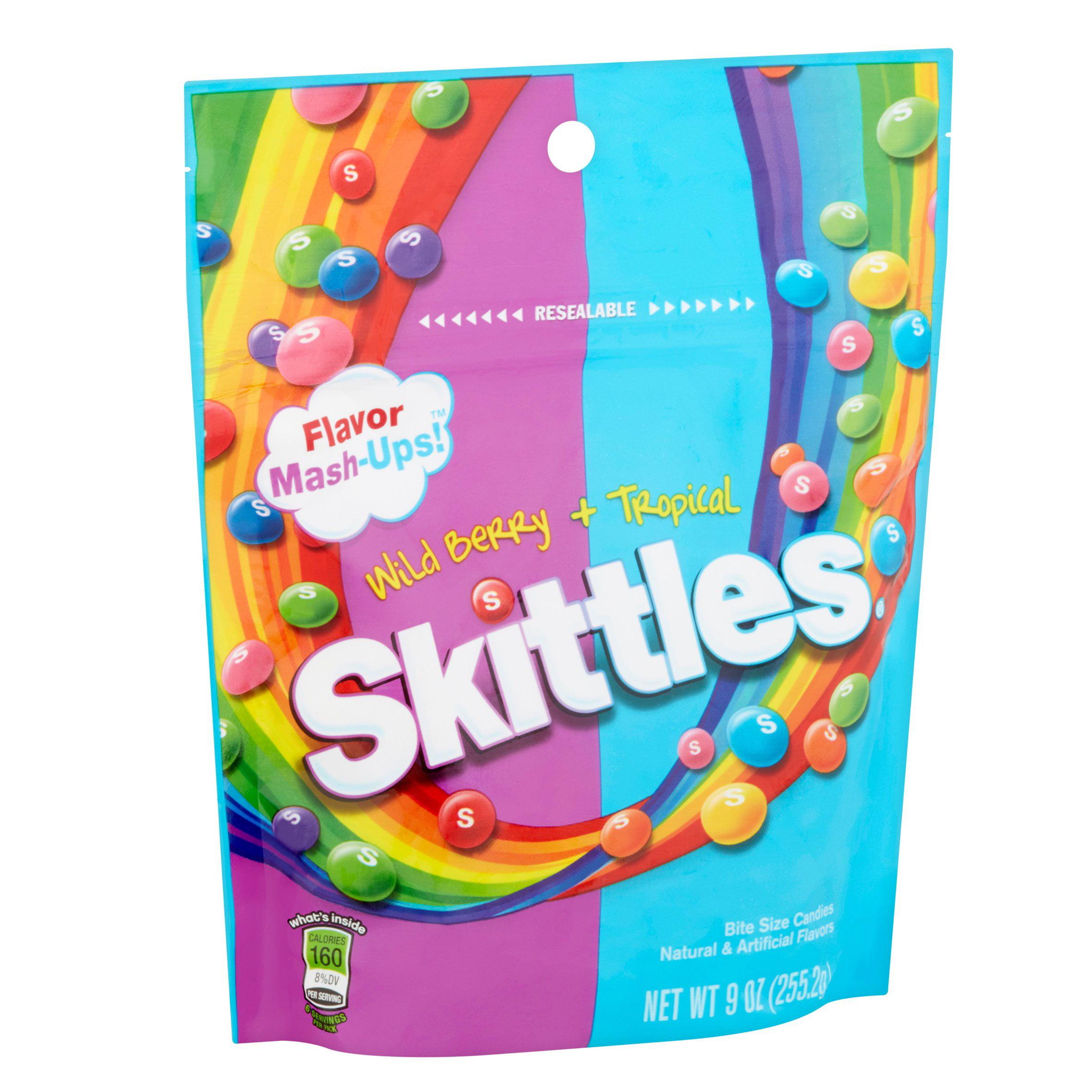 Skittles, Bite Size Flavor Mash-Ups! Wild Berry + Tropical Candies ...