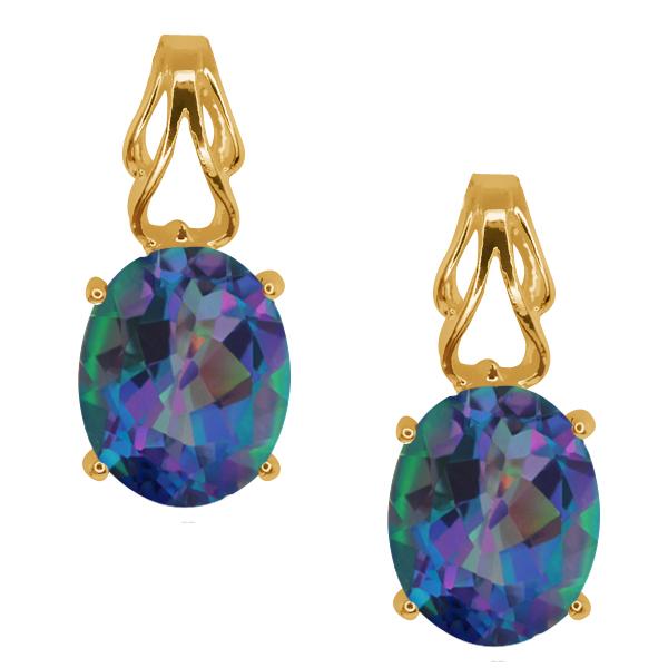 4.60 Ct Oval Millenium Blue Mystic Quartz Gold Plated Silver Earrings