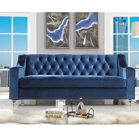 Flannigan Navy Blue Velvet Sofa - Button Tufted | Lucite Acrylic Legs |  Modern and Contemporary | by Inspired Home