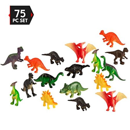 Big Mo's Toys 75 Piece Party Pack Mini Dinosaurs - Plastic Mini Educational Dinosaur Animal Toys - Fun Gift Party