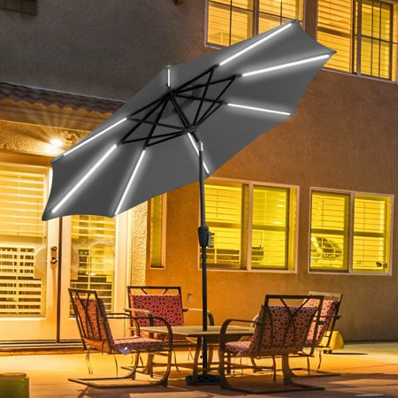 Gymax 9 FT Patio Waterproof Solar Umbrella LED Light Tilt Gray ()