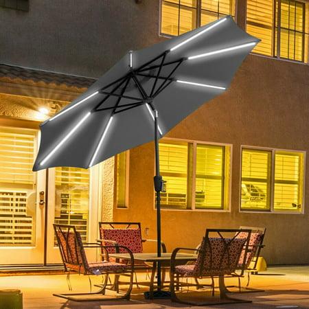 Gymax 9 Ft Patio Waterproof Solar Umbrella Led Light Tilt