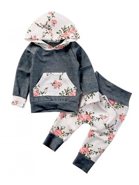 Toddlers Baby Girls Long Sleeve Floral Hoodie Outfit with Kangaroo Pocket Fall Clothes 12-18M