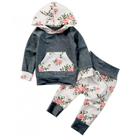 Toddlers Baby Girls Long Sleeve Floral Hoodie Outfit with Kangaroo Pocket Fall Clothes - Grey Toms Outfit