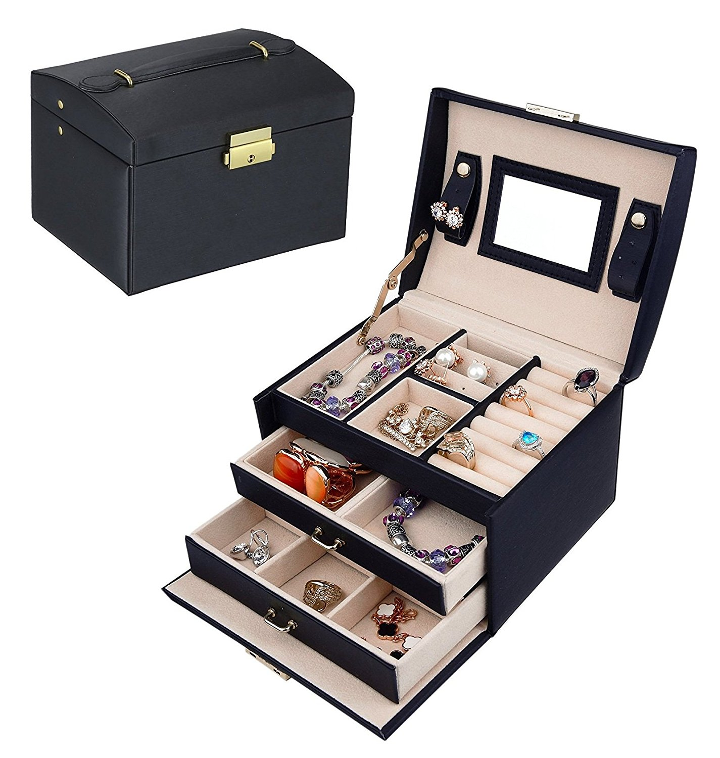 3Layer Travel Jewelry Case Lockable Jewelry Box Leather Mirrored
