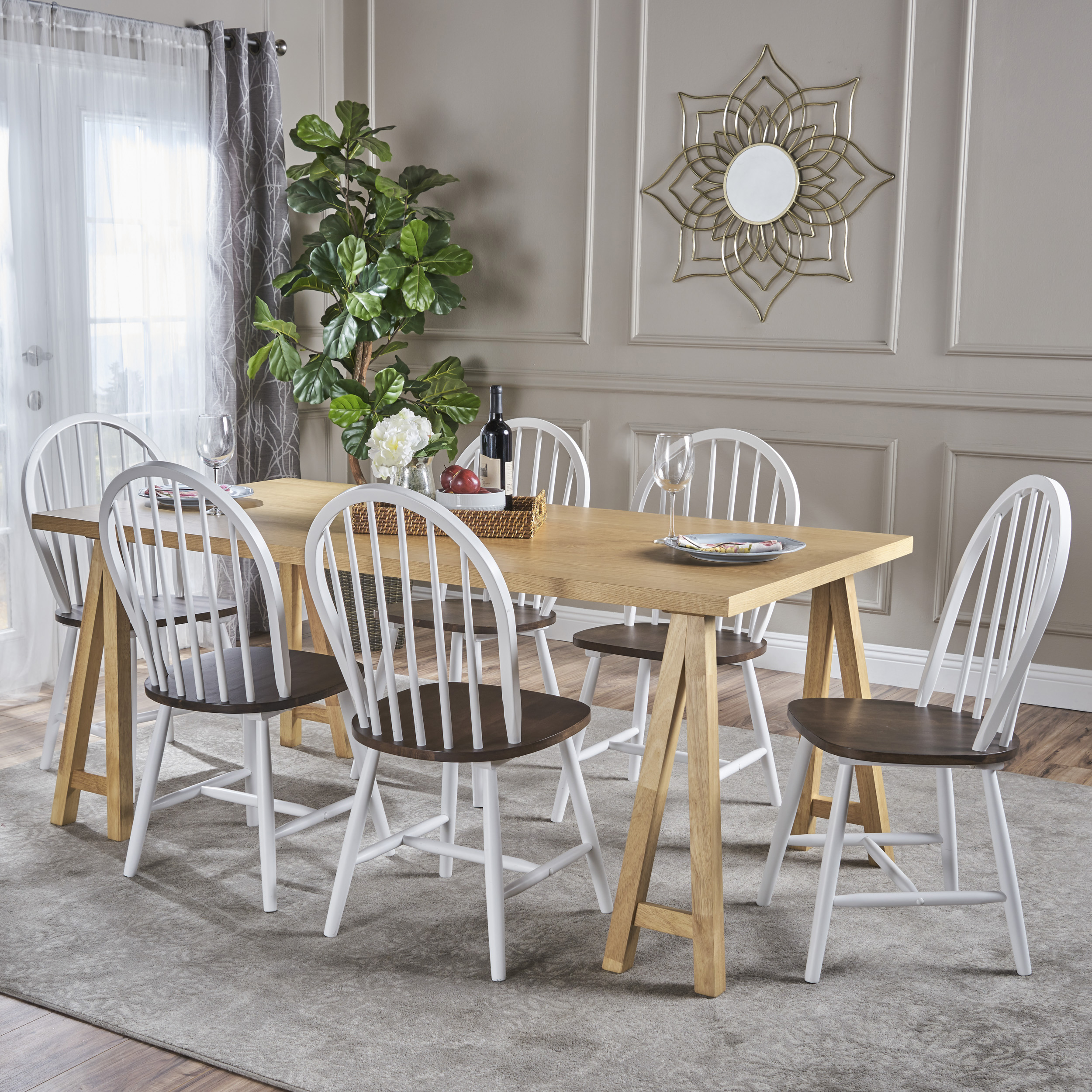 Angela Farmhouse Cottage 7 Piece Faux Wood Dining Set with Rubberwood Chairs, Natural Oak and White