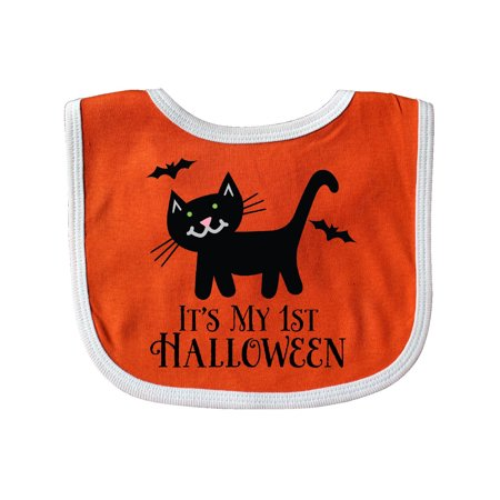 1st Halloween Black Cat Bats Holiday Baby Bib Orange/White One Size](Baby First Halloween)