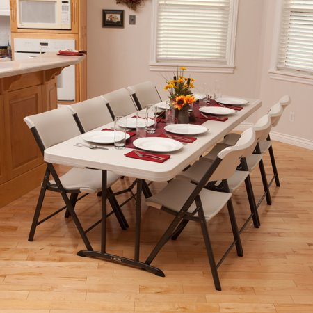 Lifetime 8 Fold In Half Table Almond Walmart Com