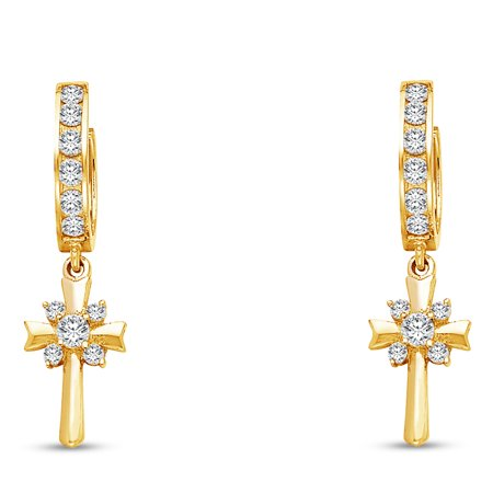14k Yellow Gold Cz Cubic Zirconia Fancy Huggies Hoops Dangle Hanging Drop Cross Crucifix Earrings