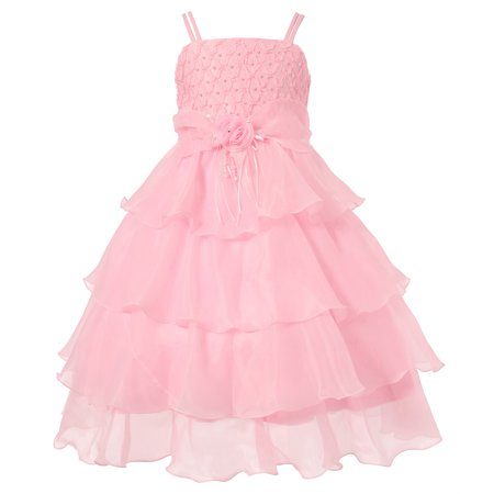 Girls Pink Rosette Flower Adorned Extravagant Dress 10/11](Formal Dress For Girls 7-16)