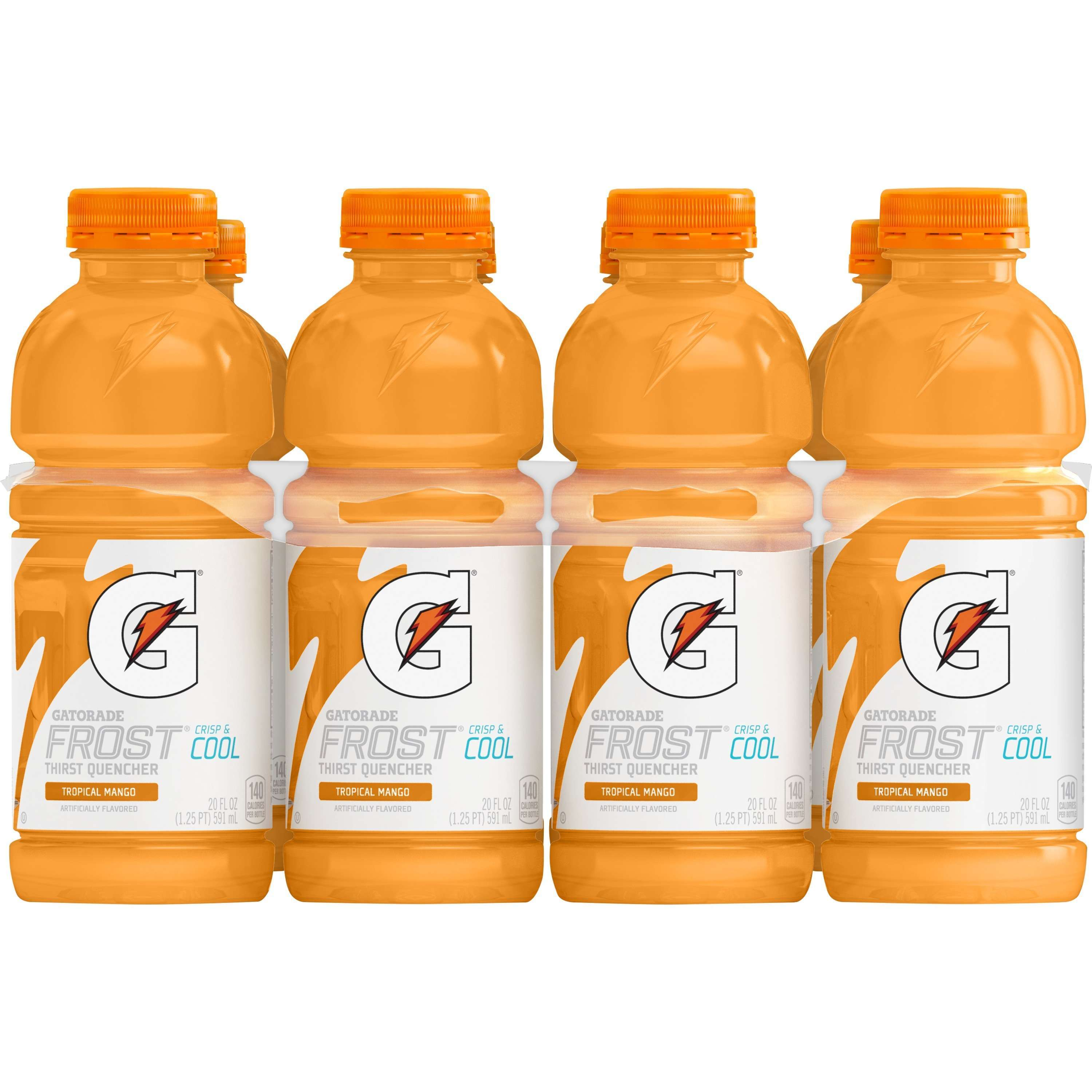 Gatorade Thirst Quencher Frost Tropical Mango Sports Drink, 8 Count, 20 fl oz Bottles