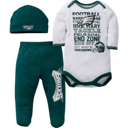 5a7816041c7bd NFL Philadelphia Eagles Baby Boys Bodysuit, Pant and Cap Outfit Set,  3-Piece - Walmart.com