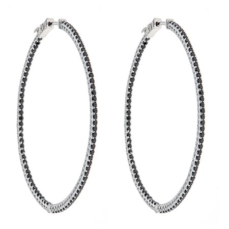 Sterling Silver Large Round Hoop Earrings With Black Cubic Zirconia Stones For S And