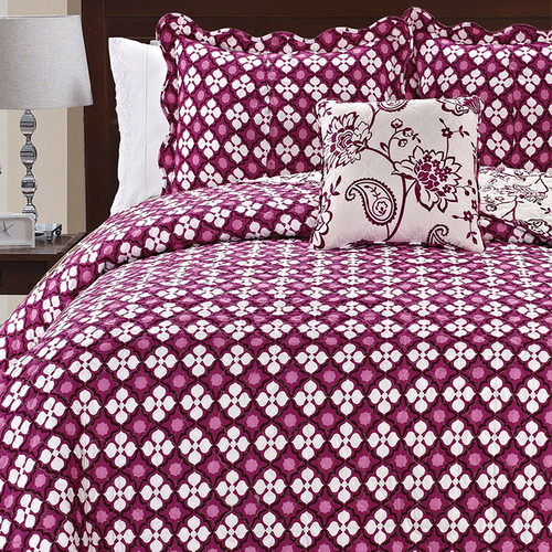 Serenta Paisley Flowers 4 Piece Reversible Coverlet Set