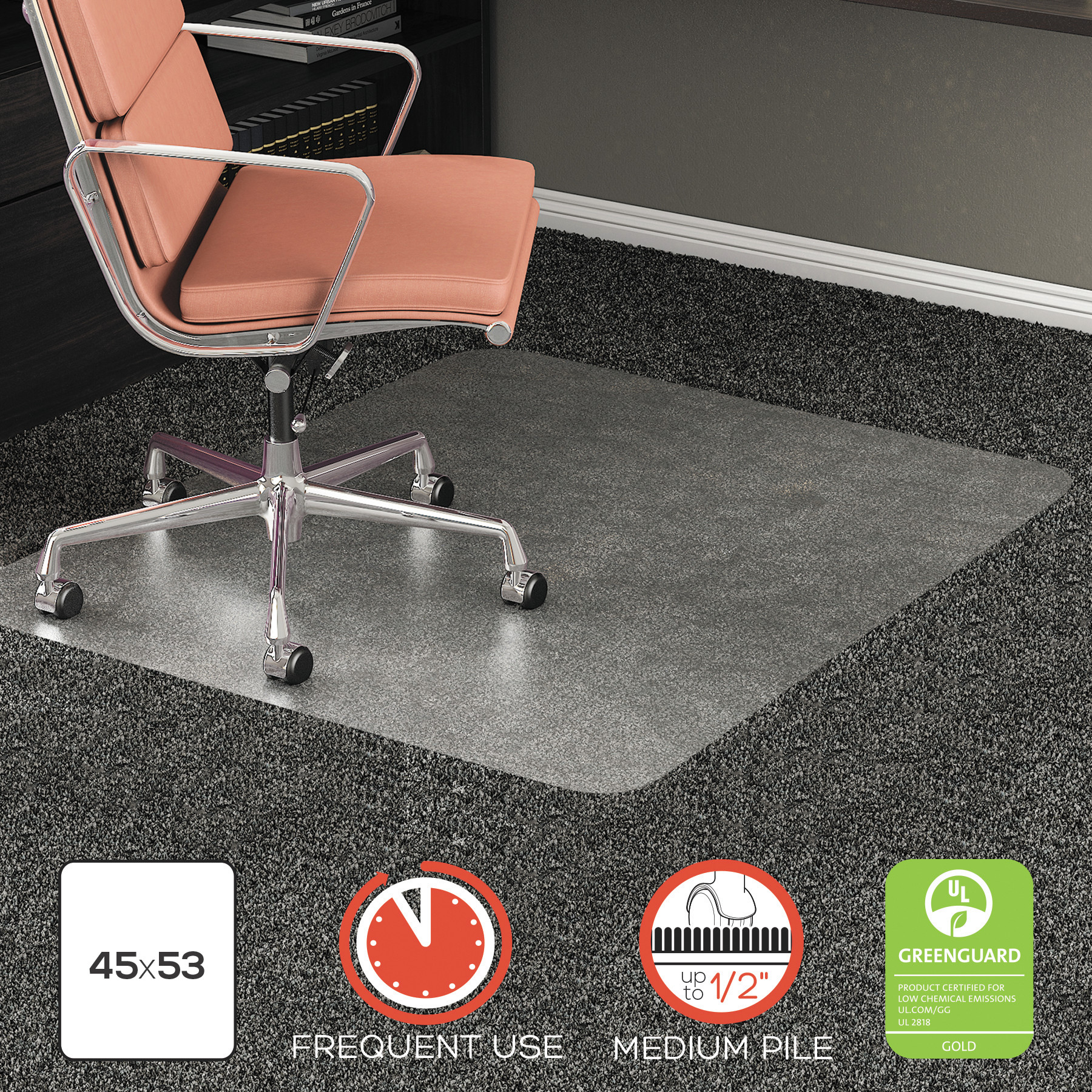 """deflecto RollaMat Frequent Use Chair Mat for High Pile Carpet, 45"""" x 53"""", Clear"""