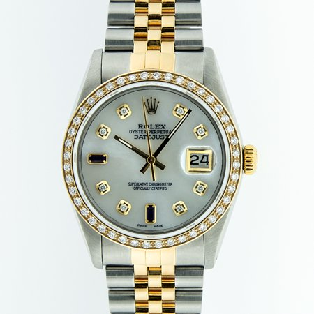 Pre-Owned Rolex Mens Datejust Steel & 18K Yellow Gold Mother of Pearl Diamond & Sapphire Watch 16013 Jubilee