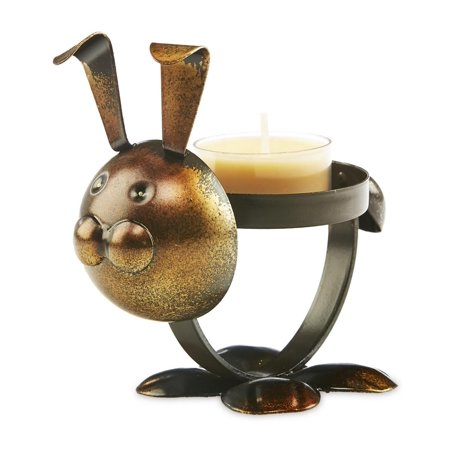 Pack of 4 Brown and Bronze Metal Rustic Chic Rabbit Decorative Tealight Candle Holder 4.5