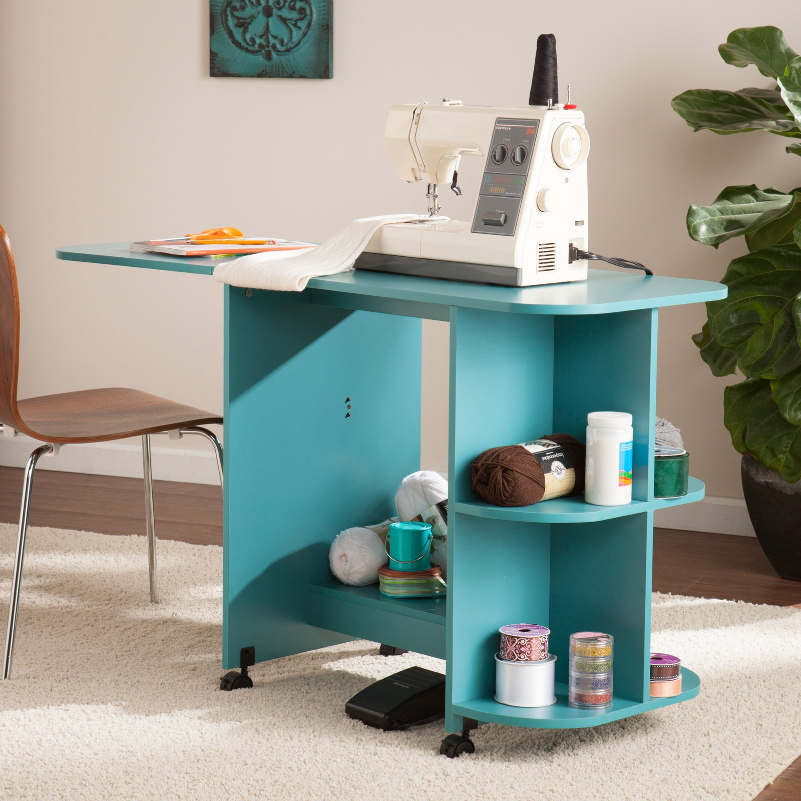 Southern Enterprises Expandable Rolling Sewing Table / Craft Station - Turquoise