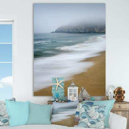 DESIGN ART Designart 'Gray Whale Cove' Nautical & Coastal Canvas Artwork - Blue/Brown