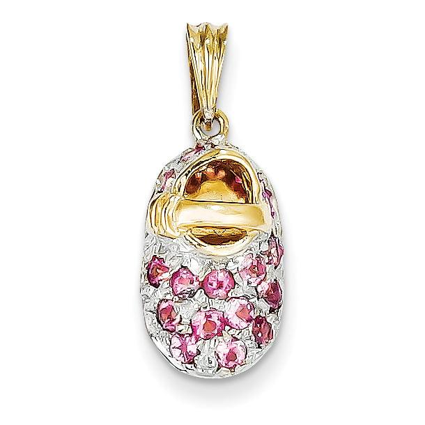 14k Yellow Gold w Rhodium Prong-Set October Pink Tourmaline Baby Shoe (9x23mm) Pendant   Charm by