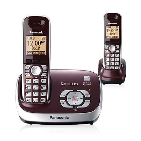 Uniden Digital Answering Machine (Panasonic KX-TG6572R DECT 6.0 Plus Expandable Digital Cordless Answering System with 2 Handsets, Wine)