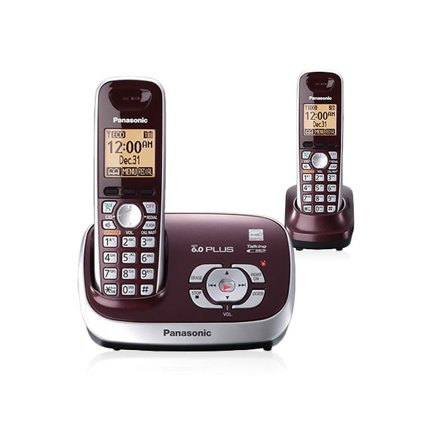 Panasonic Kx Tg6572r Dect 6 0 Cordless Phone With Answering System With 2 Handsets Wine Red Walmart Com Walmart Com