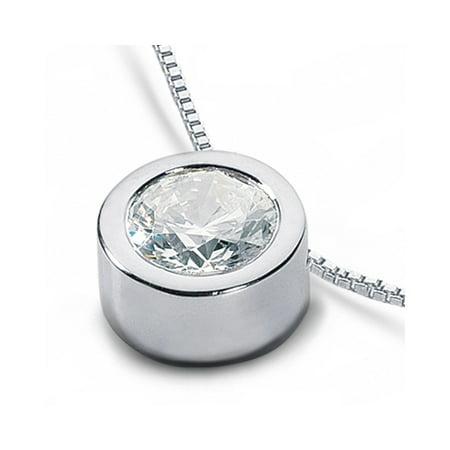 Round Diamond Solitaire Bezel Pendant (0.32 CT D-SI1 Exc Round Natural Diamond 950PL Bezel Setting Solitaire Pendant 2g)